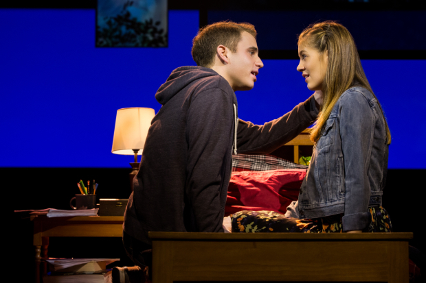 <p>Laura Dreyfuss stars opposite Ben Platt in the production.</p><br />(© Matthew Murphy)