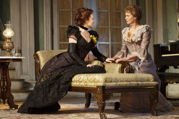 <p>Laura Linney and Cynthia Nixon trade the roles of Regina and Birdie each night. Linney is seen here as Regina and Nixon as Birdie.</p><br />(© Joan Marcus)