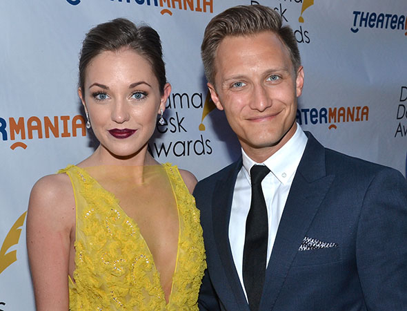 <p>Laura Osnes, a nominee for <em>The Threepenny Opera</em>, with her husband, Nathan Johnson.</p><br />(© David Gordon)