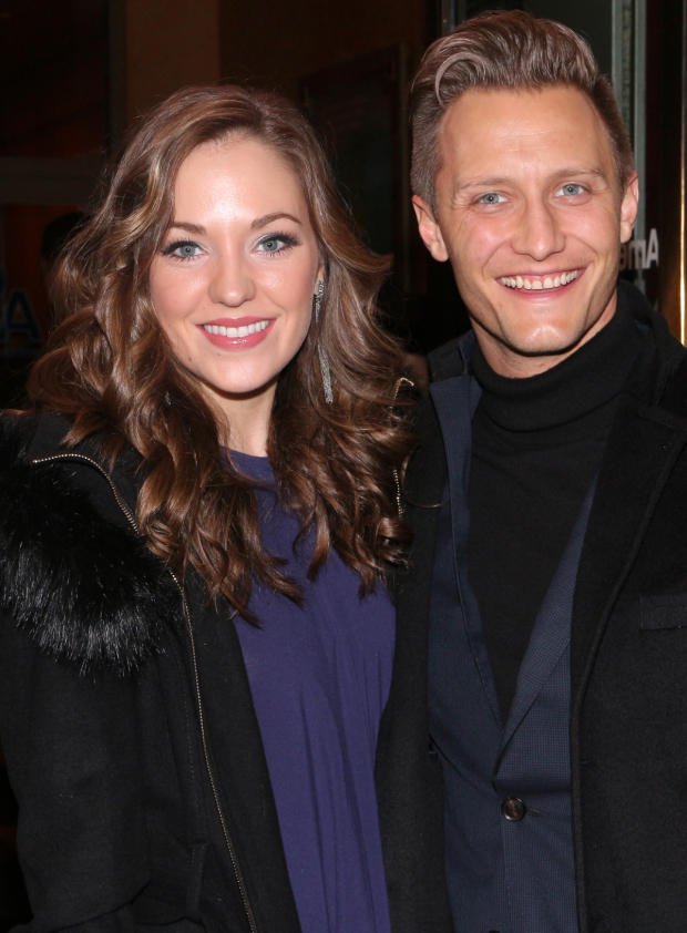<p>Laura Osnes and Nathan Johnson spend a date night at <em>Noises Off</em>.</p><br />(© David Gordon)
