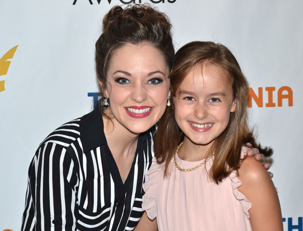 <p>Laura Osnes and Sydney Lucas — Outstanding Featured Actress in a Musical nominees for <em>The Threepenny Opera</em> and <em>Fun Home</em>, respectively.</p><br />(© David Gordon)