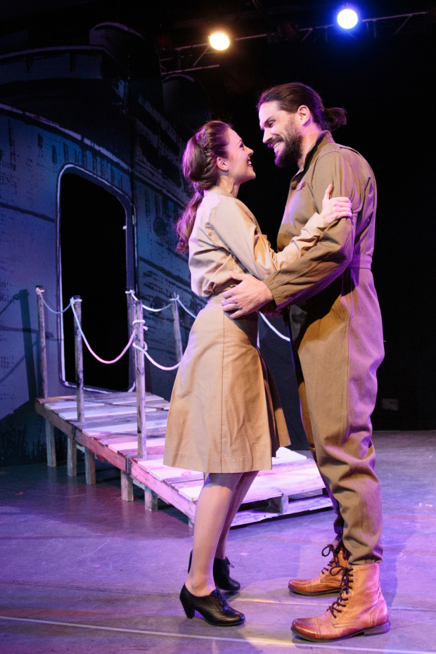 <p>Laura Osnes and Will Swenson share a moment in <em>Blueprint Specials</em>.</p><br />(© Ryan Jensen)