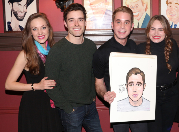 <p>Laura Osnes, Corey Cott, and Kathryn Gallagher help Ben Platt celebrate.</p><br />(&copy&#x3B; David Gordon)