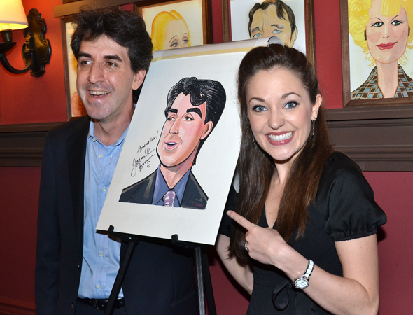 <p>Laura Osnes is thrilled to see Brown&#39&#x3B;s caricature.</p><br />(© David Gordon)