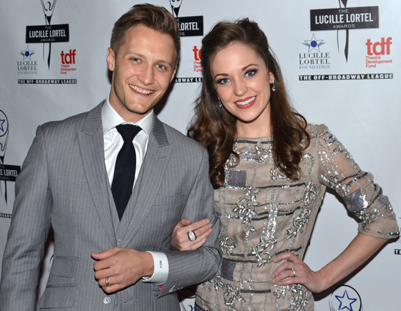 <p>Laura Osnes (seen here with her husband, Nathan Johnson) was among the presenters.</p><br />(© David Gordon)