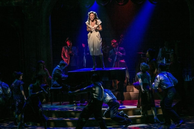 <p>Laura Osnes takes center stage in a musical moment from <em>The Bandstand</em>.</p><br />(© Jerry Dalia)
