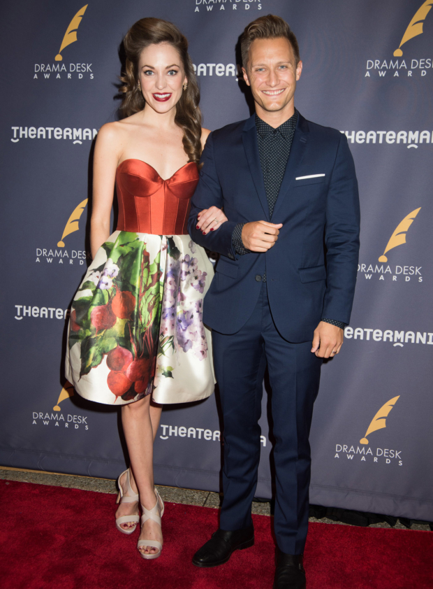<p>Laura Osnes walks the red carpet with her husband, Nathan Johnson.</p><br />(© Monica Simoes)