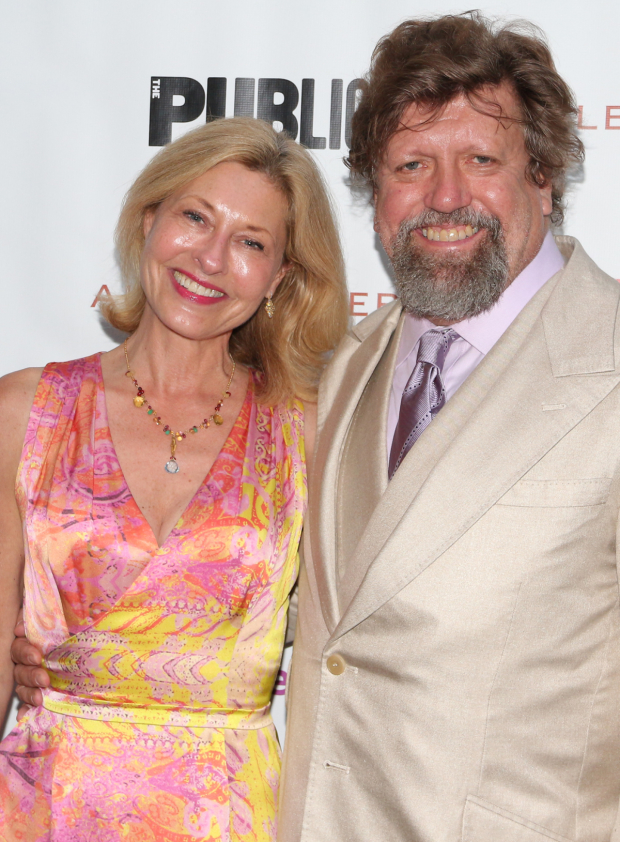 <p>Laurie and Oskar Eustis were happy to have another opening under their belt.</p><br />(© David Gordon)