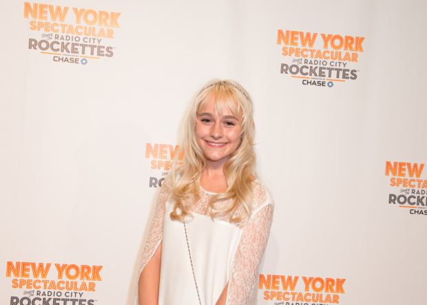 <p><em>Lazarus</em> vet Sophia Anne Caruso heads into Radio City Music Hall.</p><br />(© Allison Stock)