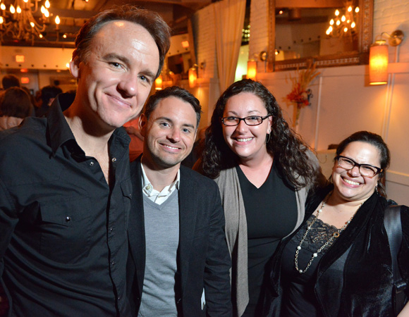 <p>Lead actor David Wilson Barnes poses with his agent Brian Davidson and Karen Nahary and Rebecca Frank of Boston.</p><br />(© Josh Reynolds)