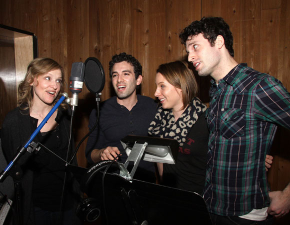 <p>Lead performers Anika Larsen, Jarrod Spector, Jessie Mueller, and Jake Epstein have fun in the recording booth.</p><br />(© Joe Marzullo)