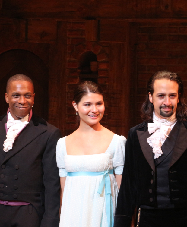 <p>Leading players Leslie Odom Jr., Phillipa Soo, and Lin-Manuel Miranda are proud to perform <em>Hamilton</em> on Broadway.</p><br />(© David Gordon)