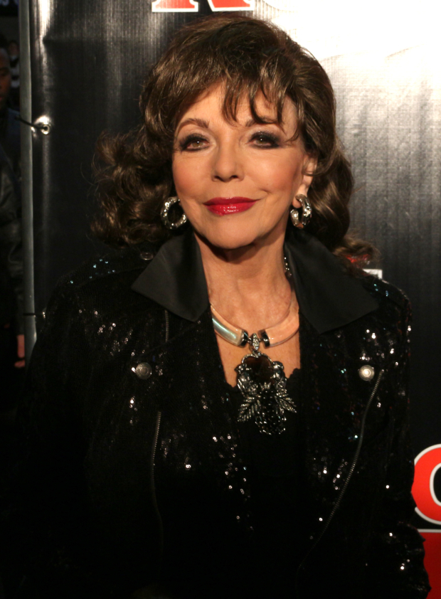 <p>Legendary actress Joan Collins is on hand to check out the latest Andrew Lloyd Webber musical.</p><br />(© David Gordon)