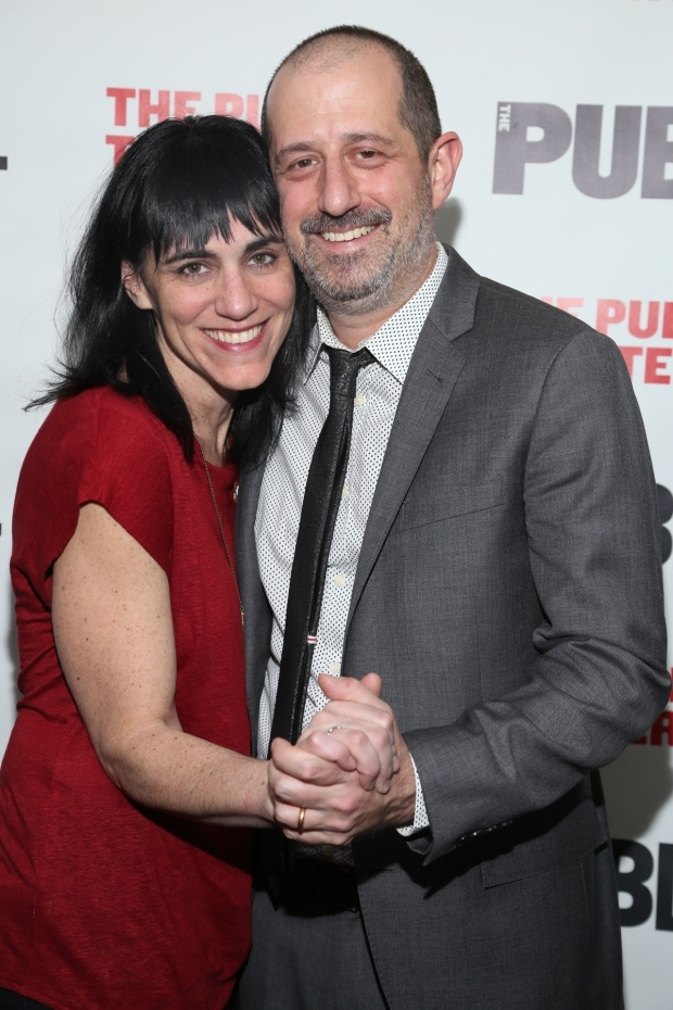 <p>Leigh Silverman and Ethan Lipton celebrate the opening night of <em>The Outer Space</em>.</p><br />(© Tricia Baron)