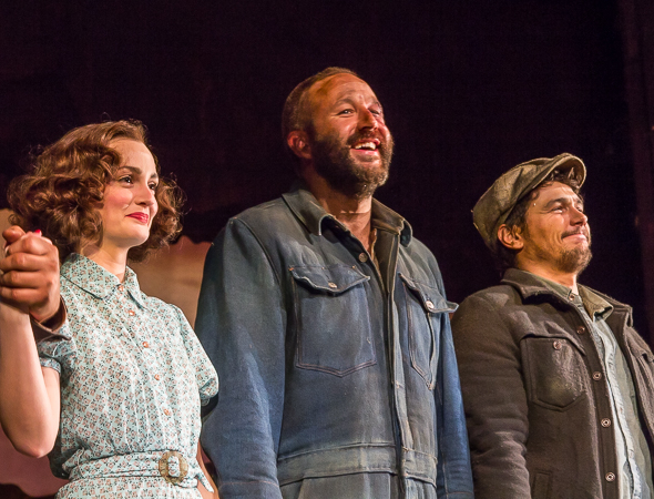 <p>Leighton Meester, Chris O&#39&#x3B;Dowd, and James Franco take their first bow as a company.</p><br />(© Seth Walters)