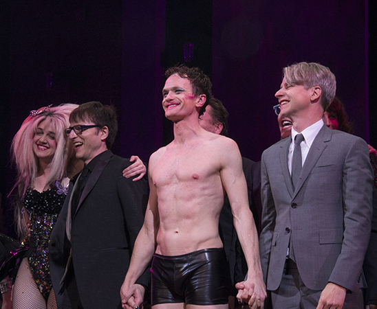 <p>Lena Hall, Stephen Trask, Neil Patrick Harris, and John Cameron Mitchell take a bow.</p><br />(© David Gordon)