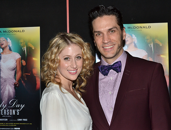<p><em>Les Mis</em> stars Caissie Levy and Will Swenson were thrilled to cheer on Swenson&#39&#x3B;s lovely wife on her opening night.</p><br />(© David Gordon)