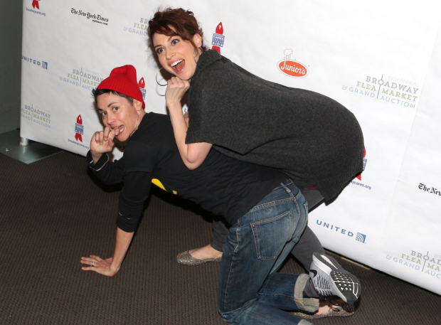 <p>Lesli Margherita gets a ride from Beth Malone on their way to the autograph table.</p><br />(&copy&#x3B; David Gordon)