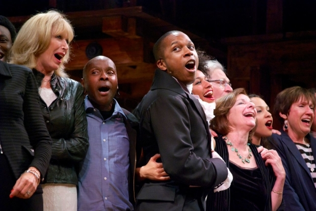 <p>Leslie Odom Jr. (center) leads both casts in a chorus of &quot&#x3B;What I Did for Love.&quot&#x3B;</p><br />(© Kristin Goehring)