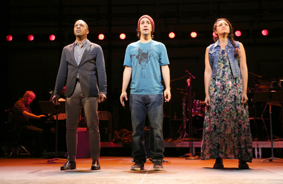 <p>Leslie Odom Jr., Lin-Manuel Miranda, and Karen Olivo take the stage in <em>tick, tick... BOOM!</em>.</p><br />(© Joan Marcus)