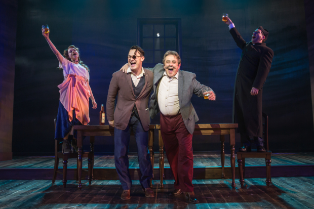 <p>Lianne Marie Dobbs, Matt Bogart, Michael McCormick, and Zachary Prince toast at the Minetta Lane Theatre.</p><br />(© Matt Murphy)