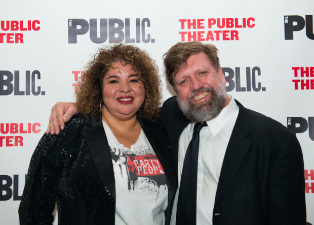 <p>Liesl Tommy celebrates with Public Theater artistic director Oskar Eustis.</p><br />(© Allison Stock)