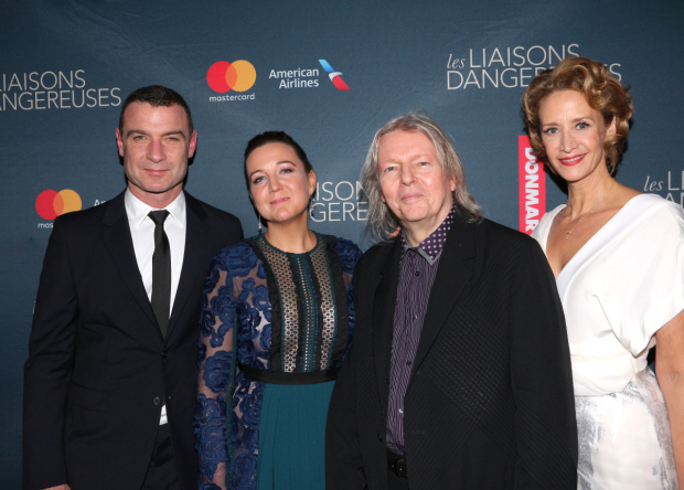 <p>Liev Schreiber, Josie Rourke, Christopher Hampton, and Janet McTeer come together for a photo.</p><br />(© David Gordon)