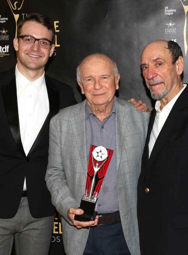 <p>Lifetime Achievement Award recipient Terrence McNally is flanked by Micah Stock (left) and F. Murray Abraham, who currently star in McNally&#39&#x3B;s <em>It&#39&#x3B;s Only a Play</em> on Broadway.</p><br />(© David Gordon)