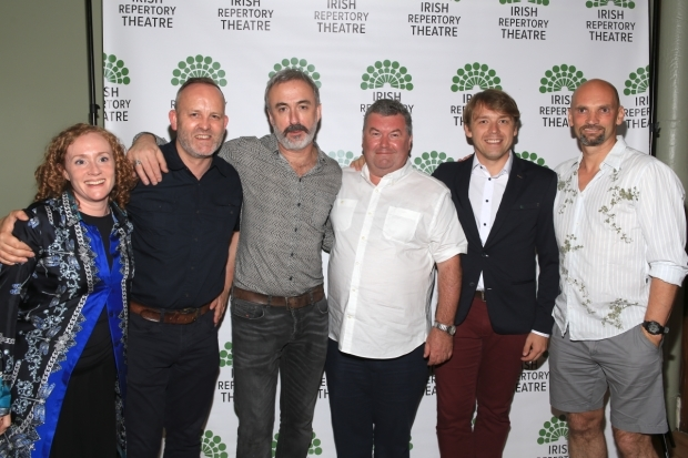 <p>Lighting designer Sinéad McKenna, director Jimmy Fay, Declan Conlon, playwright Owen McCafferty, Robert Zawadzki, and Patrick O&#39&#x3B;Kane smile for the cameras.</p><br />(© Tricia Baron)