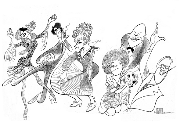 <p>Like Hirschfeld, <em>Annie</em> is a theatrical art first seen in the pages of a newspaper. The actors in this drawing of the original 1977 production include Barbara Irwin, Robert Fitch, Dorothy Loudon, Andrea McArdle, Reid Shelton, and Raymond Thorne.</p><br />courtesy of the Al Hirschfeld Foundation