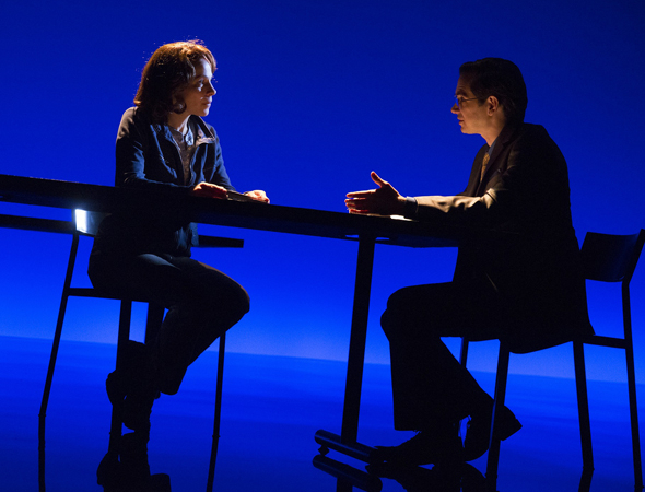 <p>Lili Taylor and David L. Townsend onstage in <em>The Library</em>.</p><br />(© Joan Marcus)