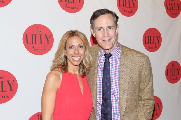 <p>Lilly Awards board member Amanda Green poses with 2016 award presenter Howard McGillin.</p><br />(© David Gordon)