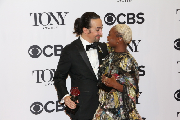<p>Lin-Manuel Miranda and Cynthia Erivo celebrate their Tony wins.</p><br />(© David Gordon)