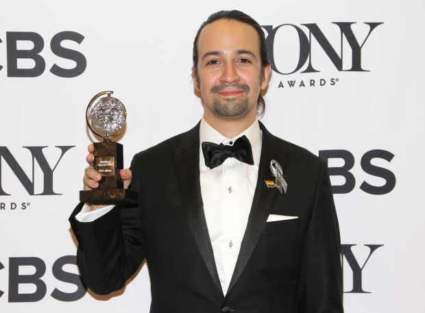 <p>Lin-Manuel Miranda, Best Book and Best Score winner for <em>Hamilton</em>.</p><br />(© David Gordon)