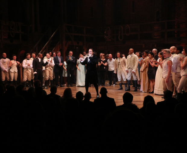 <p>Lin-Manuel Miranda invites the show&#39&#x3B;s creative team and crew onto the stage for a bow.</p><br />(© David Gordon)