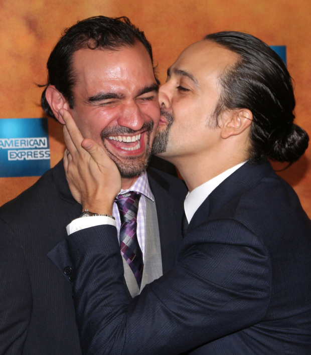 <p>Lin-Manuel Miranda shows Javier Muñoz how much he appreciates his hard work.</p><br />(© David Gordon)