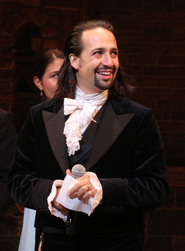 <p>Lin-Manuel Miranda drinks in the audience&#39&#x3B;s applause onstage at the Richard Rodgers Theatre.</p><br />(© David Gordon)