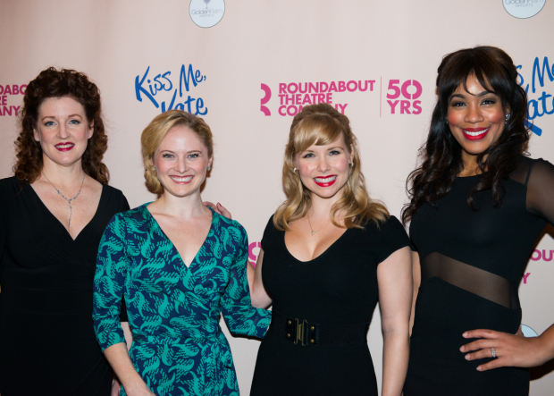 <p>Linda Muggleston, Hayley Podschun, Marissa McGowan, and Jesmille Darbouze make up the <em>Kiss Me, Kate</em> company.</p><br />(© Allison Stock)