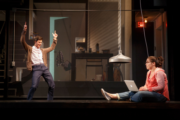 <p>Lindsay Mendez (right) is unimpressed by finger guns from Gideon Glick.</p><br />(© Joan Marcus)