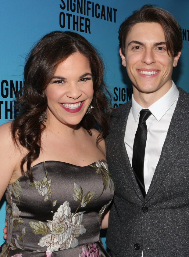 <p>Lindsay Mendez shares a photo with pal and <em>Dogfight</em> leading man Derek Klena.</p><br />(© David Gordon)