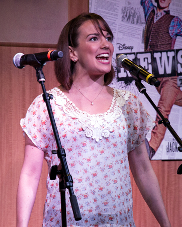 <p>Lindsay toasts the release of the <em>Newsies</em> cast recording with a performance at Barnes &amp&#x3B; Noble.</p><br />(© David Gordon)