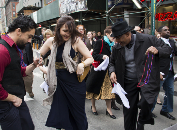 <p>Lisa D&#39&#x3B;Amour cuts a mean rug in the street with two of her cast members.</p>