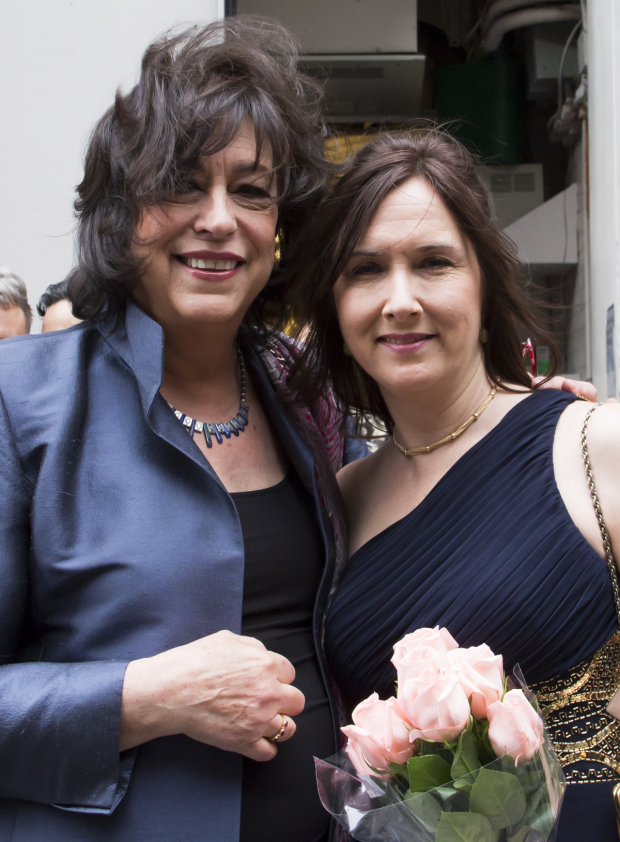 <p>Lisa D&#39&#x3B;Amour gets a pre-opening hug from MTC artistic director Lynne Meadow.</p>