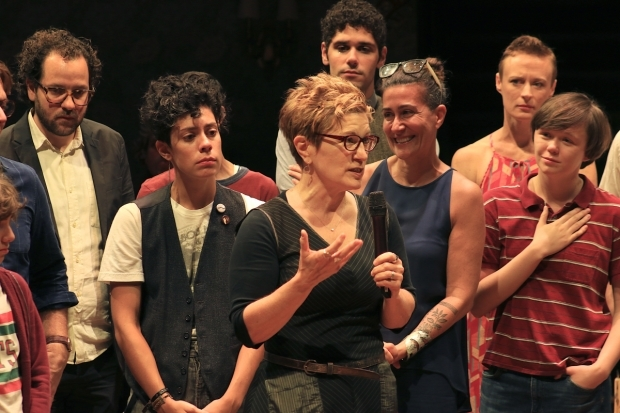 <p>Lisa Kron delivers a few parting remarks.</p><br />(© Tricia Baron)