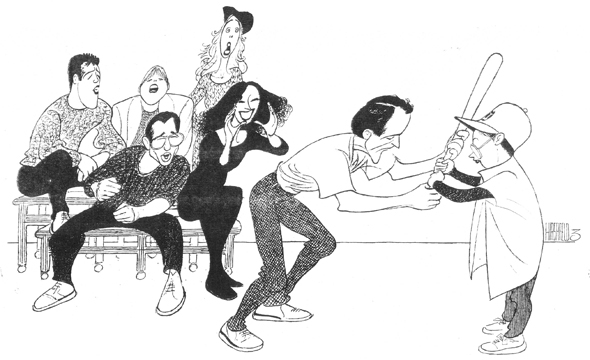 <p><em>Little Miss Sunshine</em> is William Finn's latest project, this time off-Broadway, but Hirschfeld was drawing cast members of Finn musicals since 1981. Here he captured the 1992 Broadway premiere of <em>Falsettos</em>, a pairing of two off-Broadway musicals by Finn.</p><br />courtesy of the Al Hirschfeld Foundation