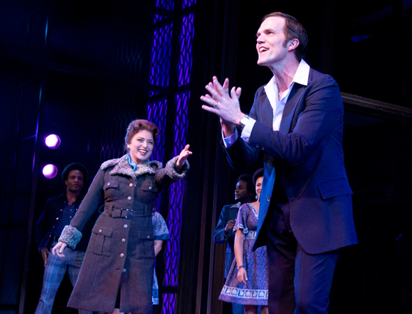 <p>Liz Larsen and Jeb Brown revel in the applause on opening night.</p><br />(© David Gordon)