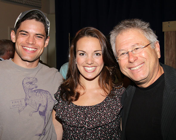 <p>Long before <em>Newsies</em> came to Broadway, it was a part of the 2011 season at the Paper Mill Playhouse. Here, leading man Jeremy Jordan and composer Alan Menken flank Kara Lindsay, their leading lady.</p><br />(© Tristan Fuge)