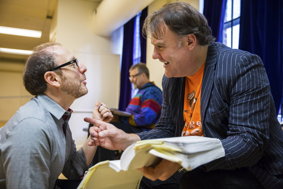<p>Lonny Price advises Bryn Terfel.</p><br />(© Chris Lee)