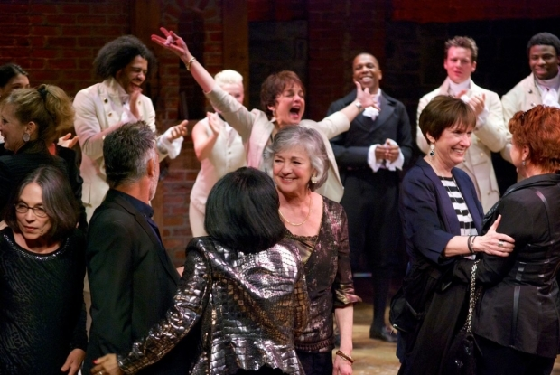 <p>Look how thrilled Priscilla Lopez (rear center) is to be back onstage at the Public!</p><br />(© Kristin Goehring)