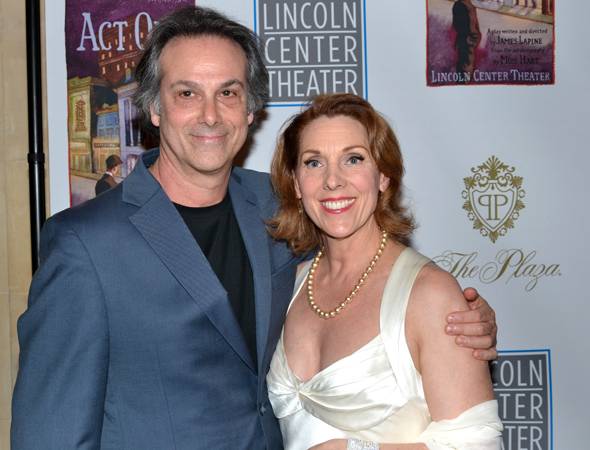 <p>Louis Rosen, who composed the music for <em>Act One</em>, joins his wife, cast member Charlotte Maier, at the opening night celebration.</p><br />(© David Gordon)